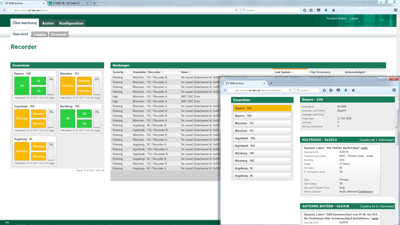 IZT DAB Archive web interface of the library server with access to logging and monitoring data