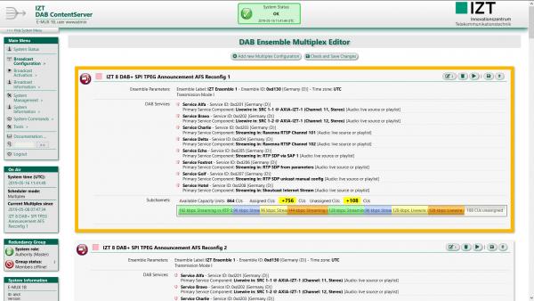 IZT DAB ContentServer Digital Radio Multiplexer System Web GUI